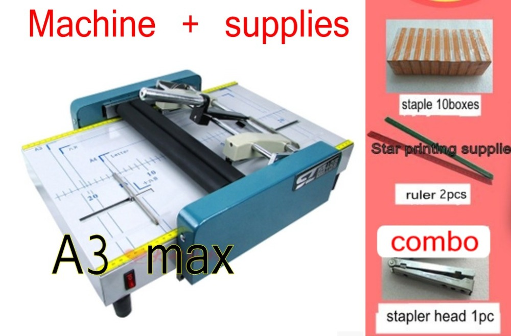2018 New Saddle and Flat Booklet Maker Stapler Machine A3 size Pamphlet Paper folding machine 2 in 1 a4 size manual flat paper press machine for photo books invoices checks booklets nipping machine
