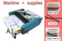 2018 Yeni Eyer ve Düz Kitapçık Yapıcı Zımba Makinesi A3 boyutu Broşür Kağıt katlama makinesi 2 in 1