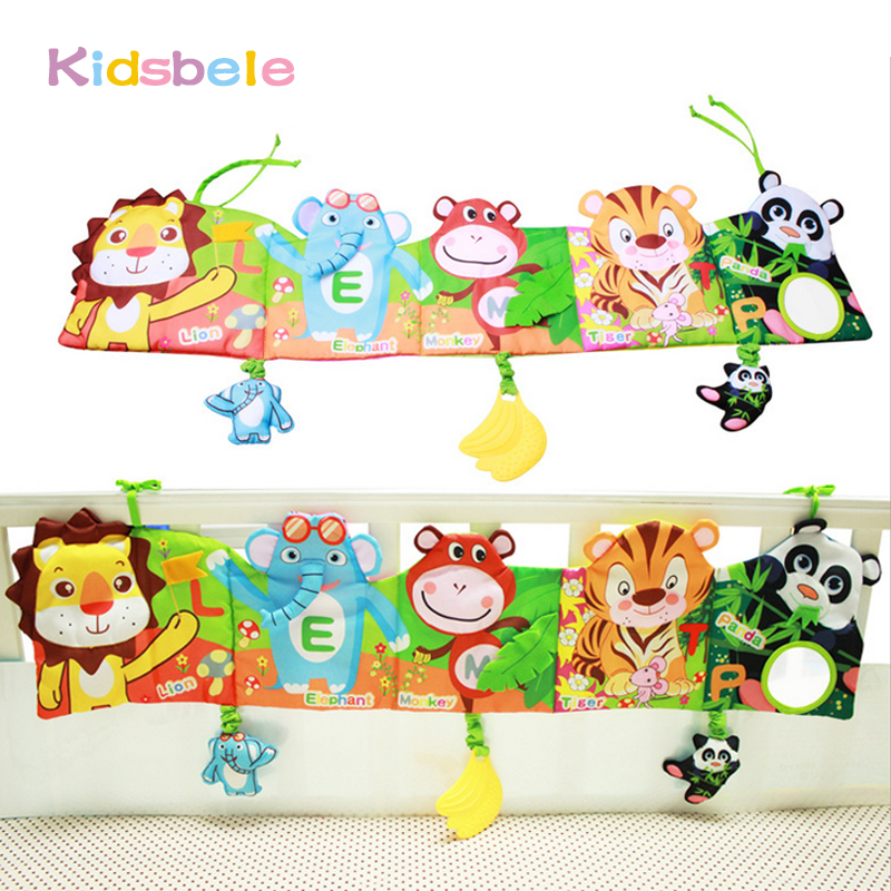 где купить Baby Toys Crib Hanging Book Soft Rattles Toy Early Learning Educational For Kids Infant Coloring Animal Squeaky Baby Cloth Book по лучшей цене