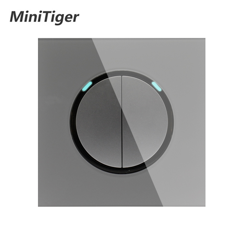 Minitiger 2 Gang 1 Way Random Click On / Off Wall Light Switch With LED Indicator Knight Gray Crystal Tempered Glass Panel