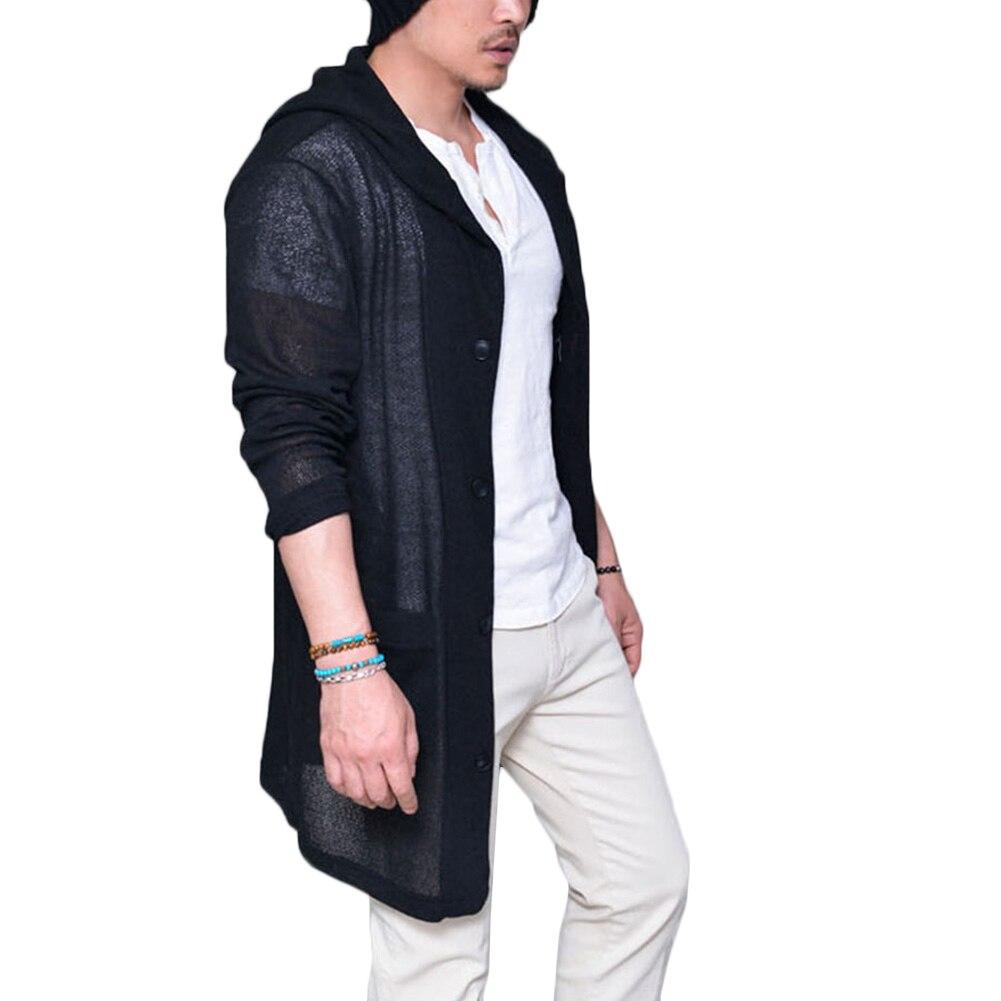 2017 Men Long Pull Cardigan Long Sleeve Knitting Solid Black Grey ...