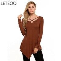 LETEOO Autumn Asymmetry Hem Long T Shirt Plus Size Tumblr Women Tops Front Cross V Neck
