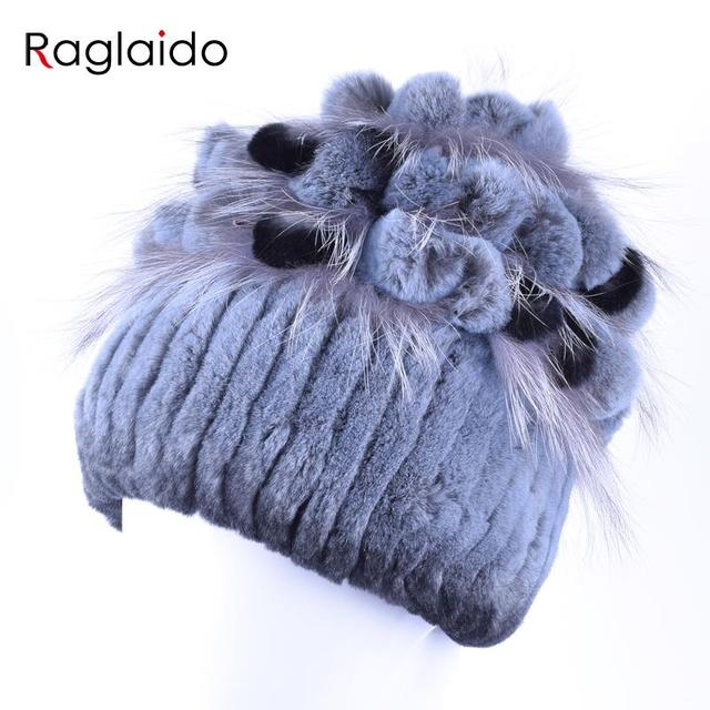 Raglaido Lady Winter Cap with Flower Elegant Winter Cap Real Fur Hats for Women +Fox Fur on Top Hand Sewing shellac Hat LQ11164