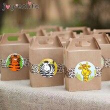 100 個ジャングル動物自己接着ステッカーラベルギフト袋シールステッカージャングル動物パーティーの装飾用品
