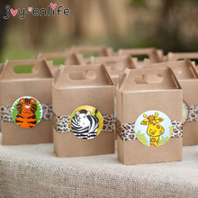 100pcs Jungle Animals Self Adhesive Sealing Sticker Labels Gift Bags Baking Sealing Sticker Jungle Animals Party Decor Supplies