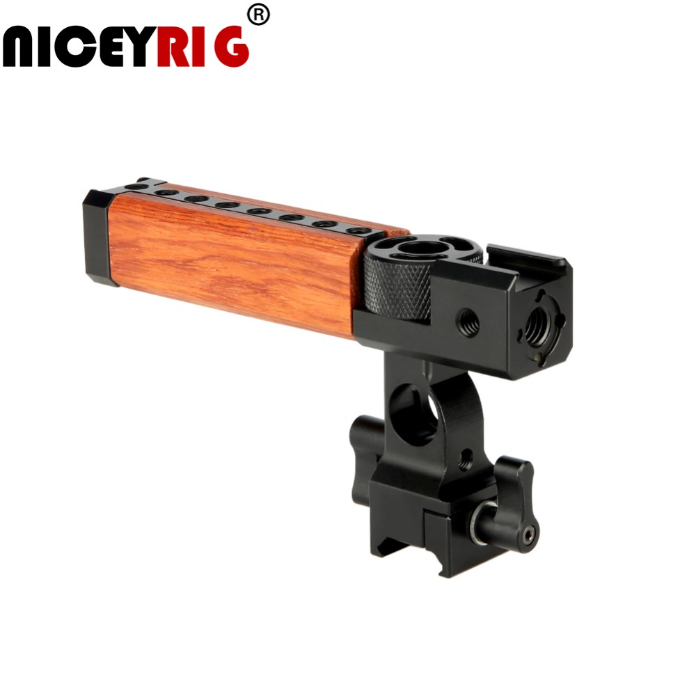 NICEYRIG Camera Wooden Handle Top Grip Camera Handle Wood Top Handle Grip Cheese NATO 15mm Rod