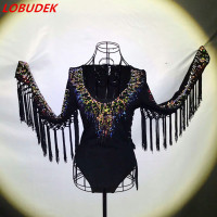 Color Diamond Tassel Rhinestones Sexy Female Costume Crystals Singer Dancer Nightclub Bar Show Performance Star Party