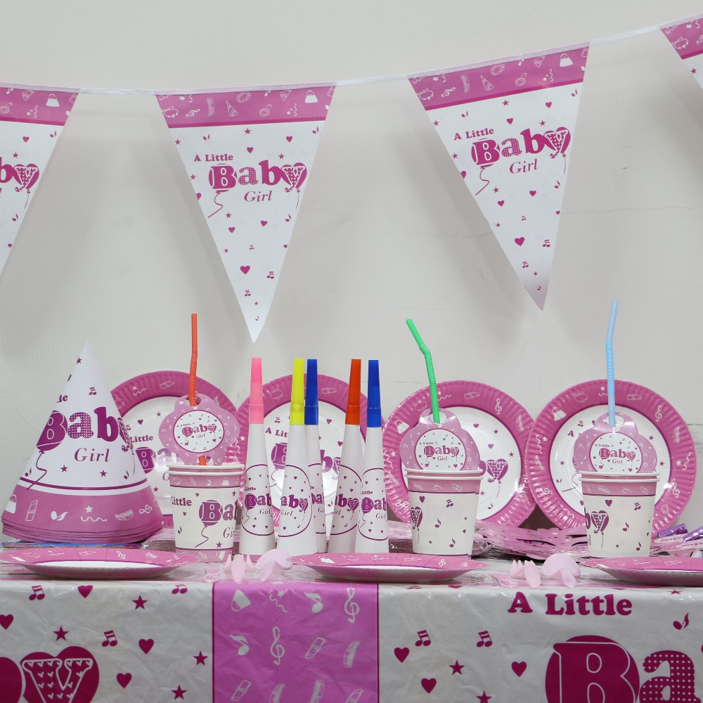 Baby shower girl theme party pack 6 people girl baby kids for Baby shower decoration set
