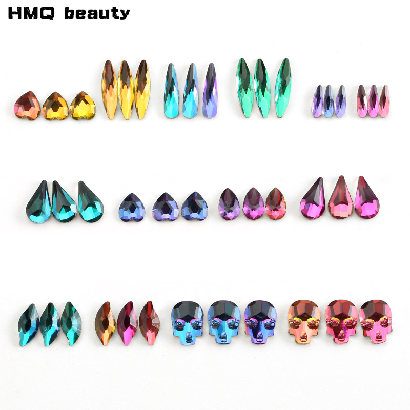 HMQ beauty 20Pcs/Pack Nail Rhinestone Variety of Shapes Manicure Nails 3D Decorations Beauty Supplies Nail Glitter