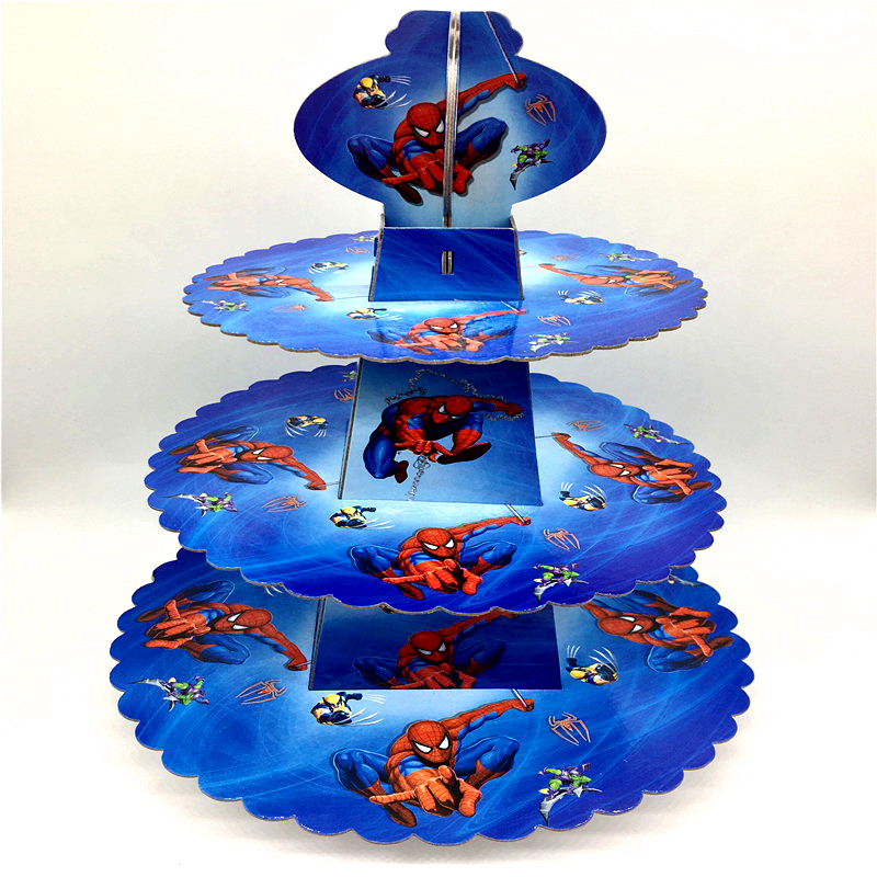 1Set Spiderman Cartoon 3-Tier Cake Stand Supplies Boys Birthday Party Decoration Family Party Cupcake Stand Hold 24 Cupcakes1Set Spiderman Cartoon 3-Tier Cake Stand Supplies Boys Birthday Party Decoration Family Party Cupcake Stand Hold 24 Cupcakes