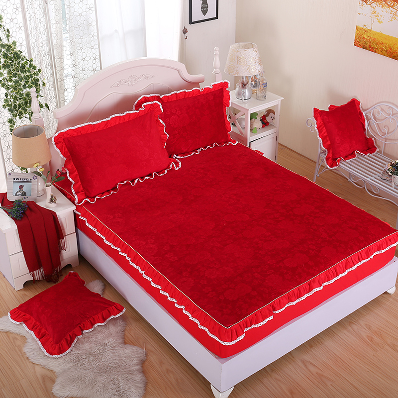 Fashion Red wine crystal velvet home textiles bedding 3 Pcs fitted sheet pillowcases