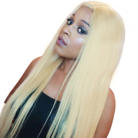 Straight 613 Blonde Wigs Remy Brazilian Human Hair 150 % Density Full End Lace Front Human Hair Wigs With Baby Hair Sunny Queen