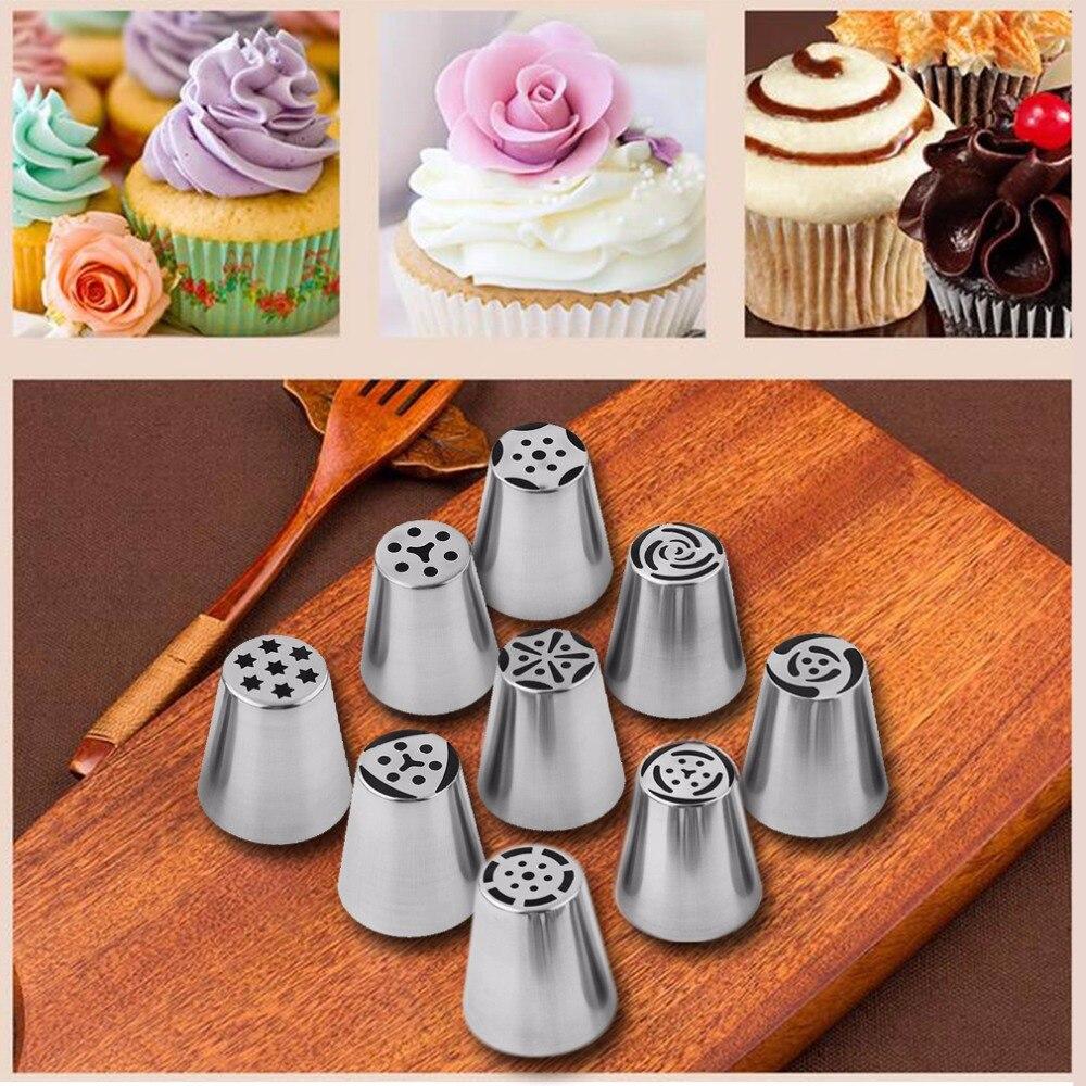 9 unids de Cocina Cake Piping Boquilla de Tubería de Acero Inoxidable Ruso Conju