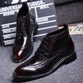 Весна и Осень новые высокого верха обуви повседневная обувь действительно Pibuluoke резные мужчины сапоги модные ботинки