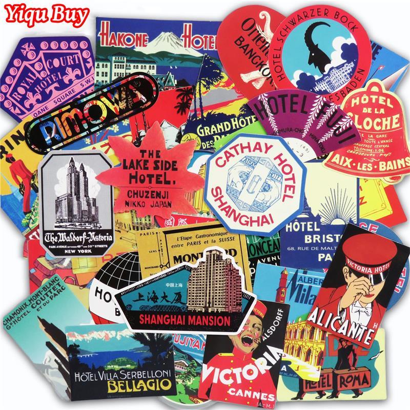 55 Pcs Retro Style Stickers Travel Hotel Graffiti Sticker For Laptop Suitcase Luggage Biycle Skateboard Car Phone DIY Stickers