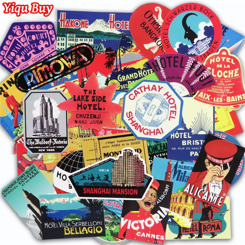 55 Pcs Retro Style Stickers Travel Hotel Graffiti Sticker For Laptop Suitcase Luggage Biycle Skateboard Car Phone DIY Stickers