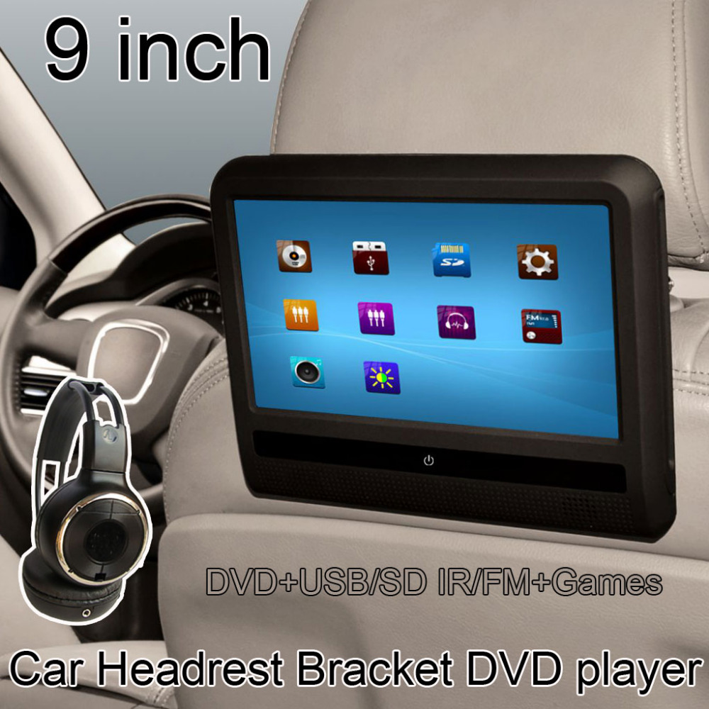 9 inch TFT LCD Digital Touch Screen Car Headrest DVD Player Multimedia Player Monitor (1 pcs) 9 inch car headrest dvd player pillow universal digital screen zipper car monitor usb fm tv game ir remote free two headphones