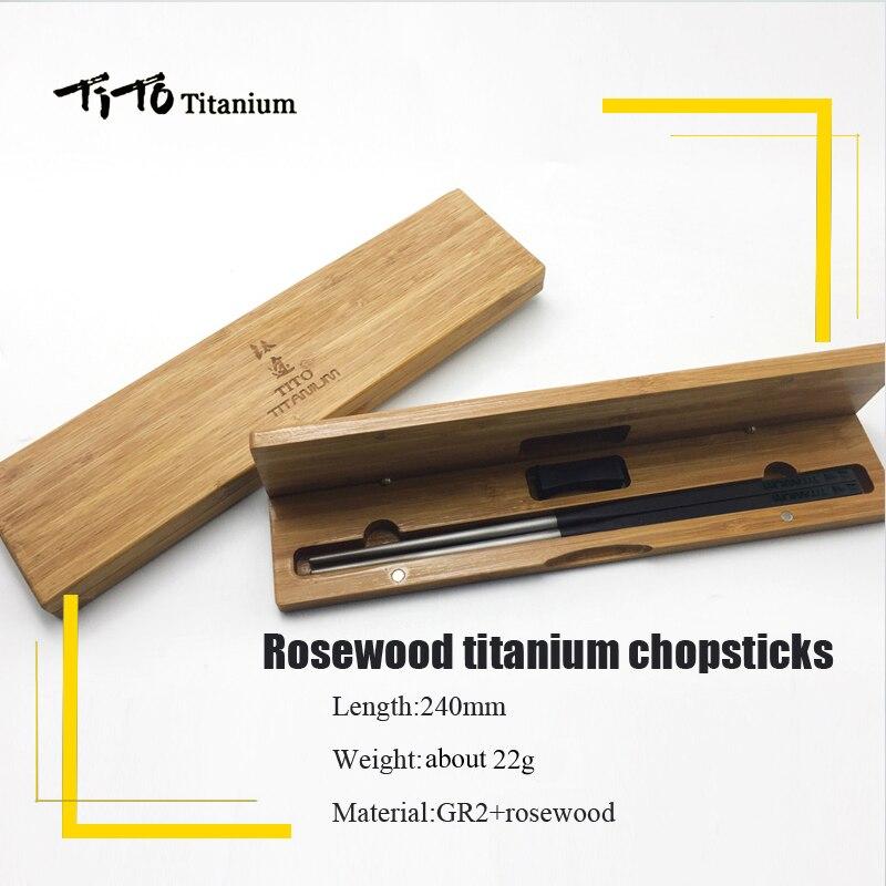 TiTo rosewood gift package titanium chopsticks family outdoor dual-use titanium alloy chopsticks keith ti5622 titanium alloy chopsticks with rectangular shape