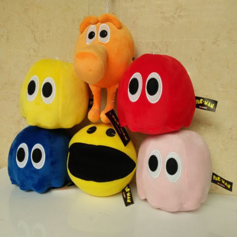 16cm Cute Pacman plush toy Pixels Movie dolls Stuffed Animals smiling face Plush Q bert pac-man Toys for Children Gift slipper
