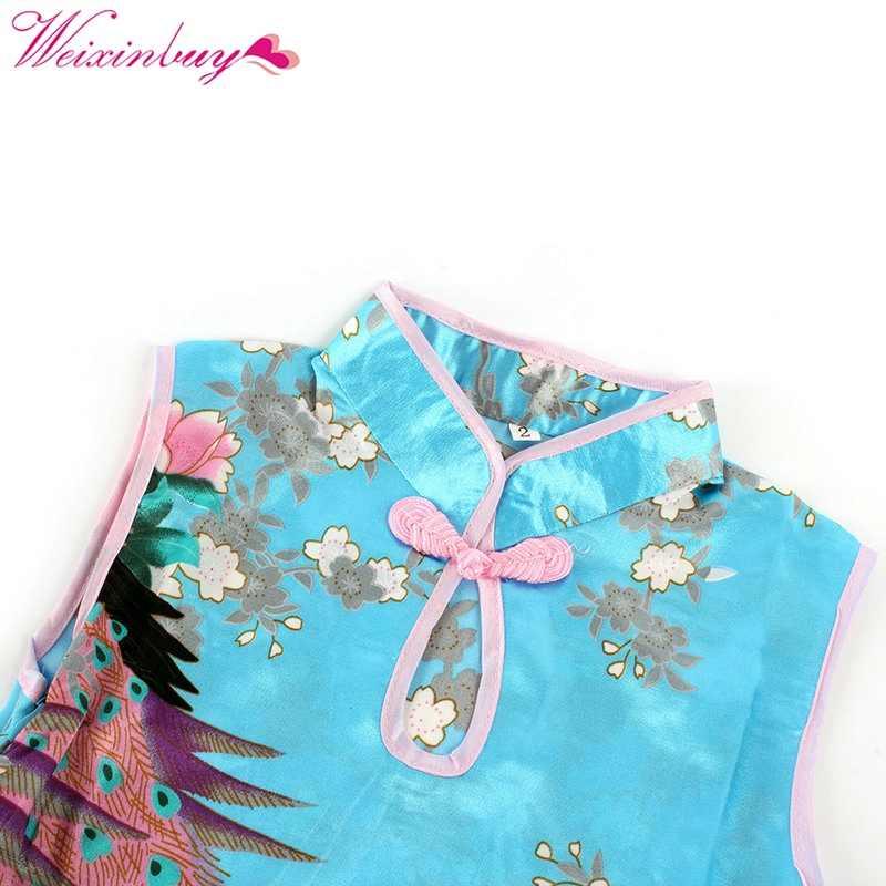 WEIXINBUY Trẻ Em của Váy Sườn Xám Cái Yếm Theo Phong Cách Trung Quốc Trẻ Em của Tang Phù Hợp Với Cô Gái Dresses Tay Đảng Vestidos Cho các Cô Gái