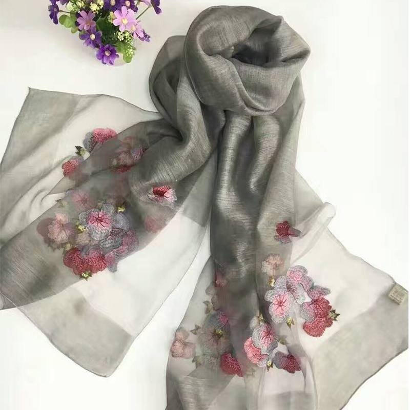Sparsil Women Summer Silk   Scarf   Floral Embroidered Long Shawl Fashion   Wrap   All Match Wool   Scarf   Ladies   Wraps   Clearance 190cmX80