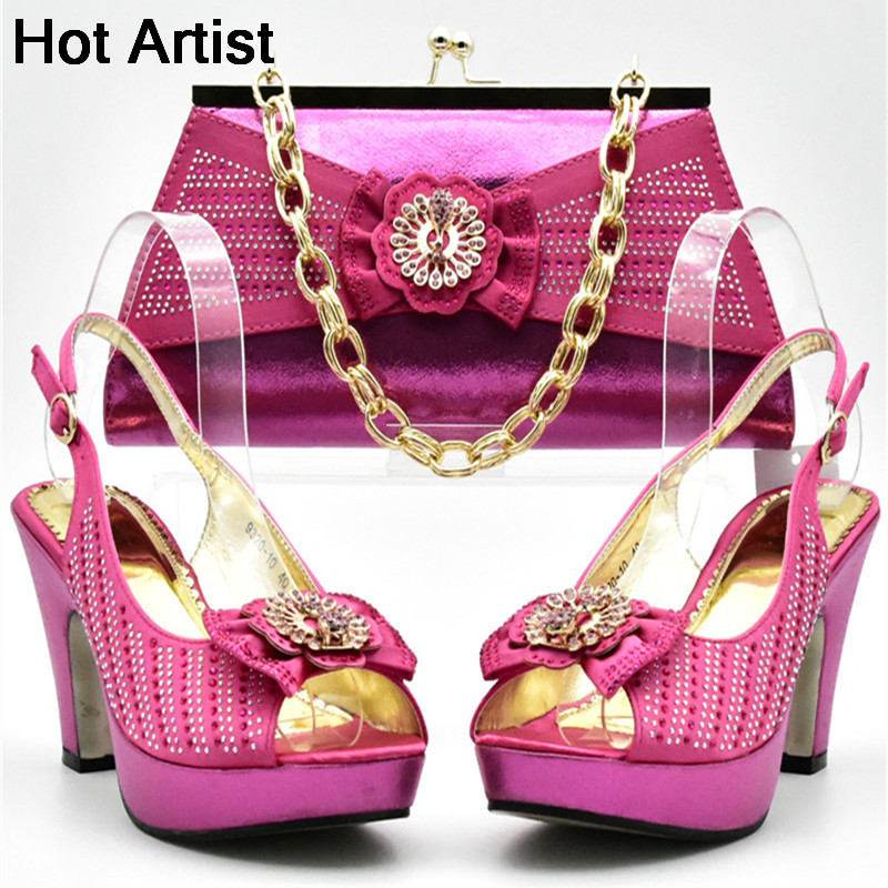 Hot Artist New Fashion African Shoes And Matching Bag Set Italian Rhinestones Woman Pumps Shoes And Bag Set For Party YF-01 hot artist latest italian high heels shoes and bag set for party african women shoes and matching bag set size 38 43 mm1056