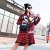 Autumn New Design Long Sleeve Grid Dress Women Ruffle Patchwork Sequins Shirt Dress Leisure Loose Blouse