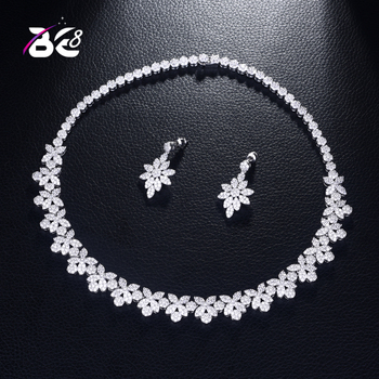 Be 8 New Arrival Fashion Luxury Super Shiny AAA Cubic Zirconia Women 2pcs Necklace and Earring Jewelry Set for BridalWeedingS379