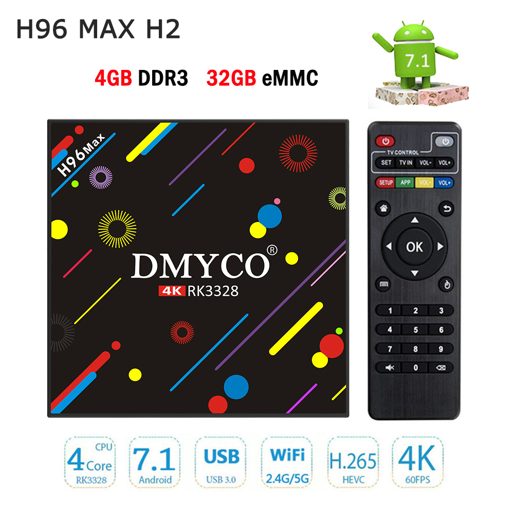 TV Box Android 7.1 4G 32G H96 max h2 RK3328 Quad Core 4 K Smart TV VP9 HDR10 USB3.0 wiFi Media Player