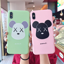Cartoon  Bear Silicone phone case For iPhone 7 Case Apple 8 Plus X XS Cute Pattern Case Cover For iPhone 6 6S XR Matte Shell