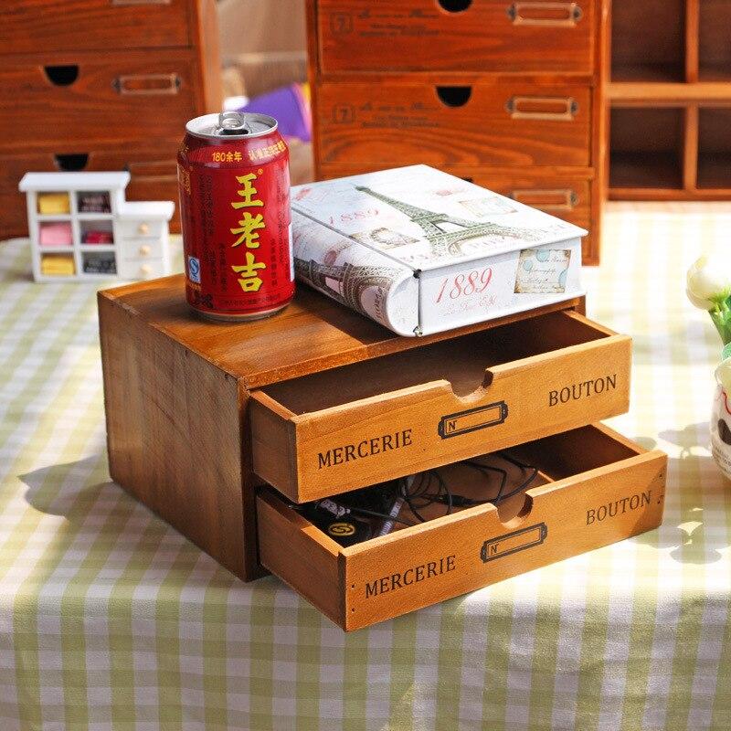 Vintage en bois rétro boîte de rangement ornements en bois mallette de rangement avec tiroir maquillage organisateur bureau artisanat décoration de la maison cadeaux