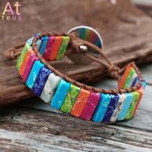 Yoga Chakra Bracelet Jewelry Rainbow Natural Stone Tube Beads Leather Wrap Couples bracelet pierre naturelle Gifts