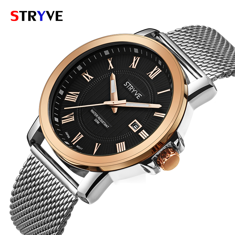 STRYVE Brand Luxury Men's Watch Date 30m Waterproof Mesh strap Clock Male Casual Quartz Watches Men Wrist Sport Watch relogio ma 2017 luxury brand binger date genuine steel strap waterproof casual quartz watches men sports wrist watch male luminous clock