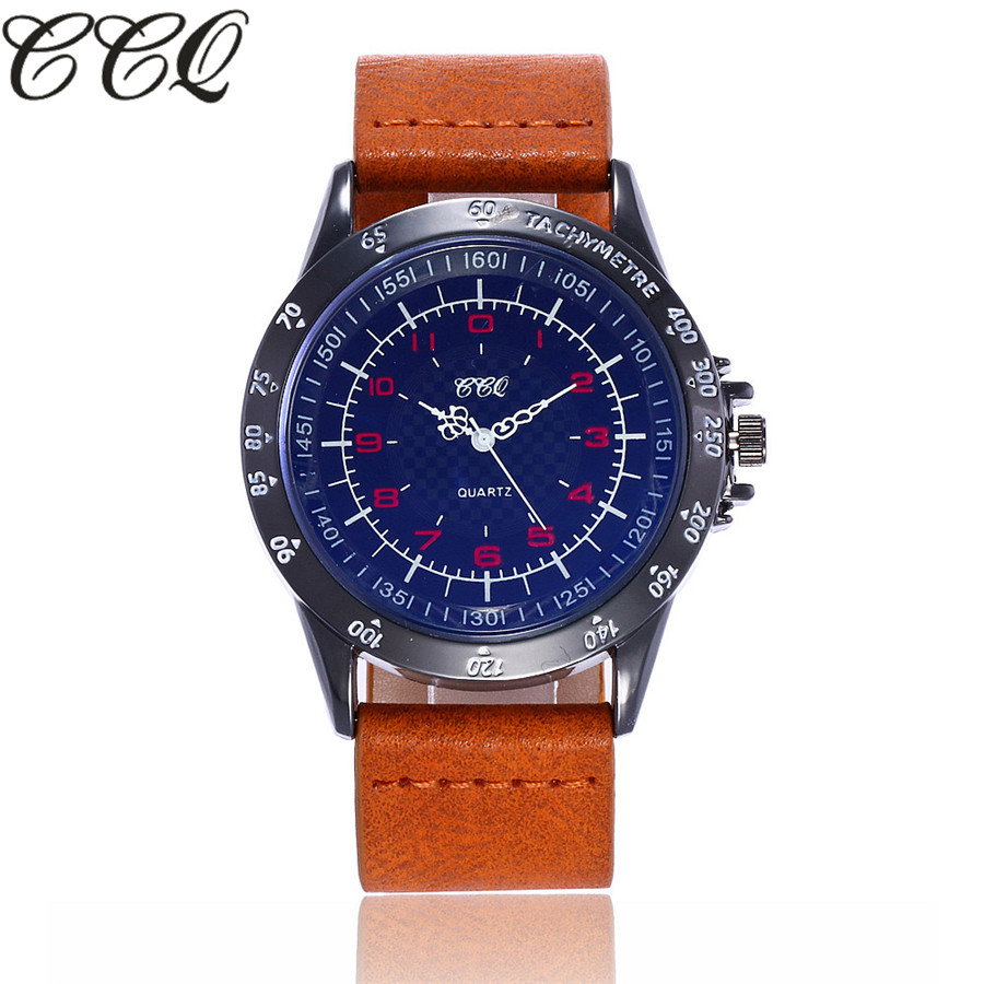 CCQ Luxury Brand Military Watch Men Quartz Analog Clock Leather Strap Clock Men Sports Watches Army Relogios Masculino C109 quartz watch mens luxury crocodile faux leather analog blu ray business wrist watches clock men relogios masculino best gift