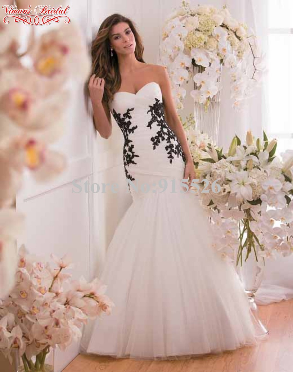 2015 New Design White And Black Wedding Dresses Appliques Lace ...