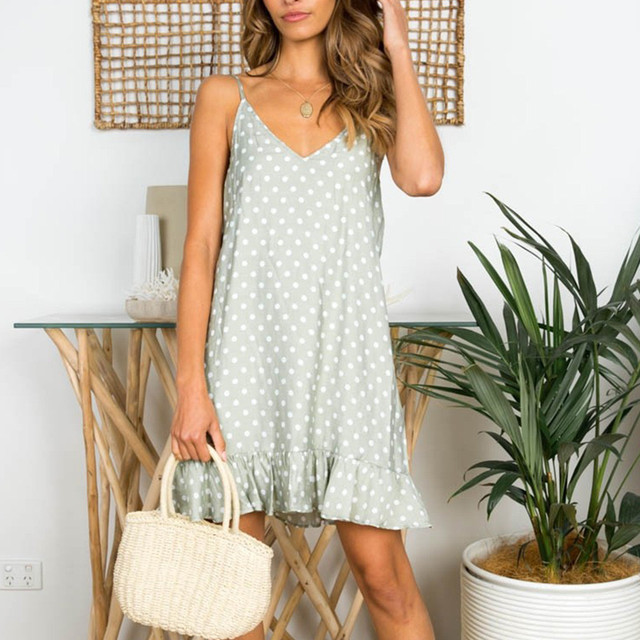 sexy dress summer Women Sexy V-Neck Sleeveless Sling Dot Printed Ruffled Hem Loose Mini Dress fashion 2019 sukienki damskieg12
