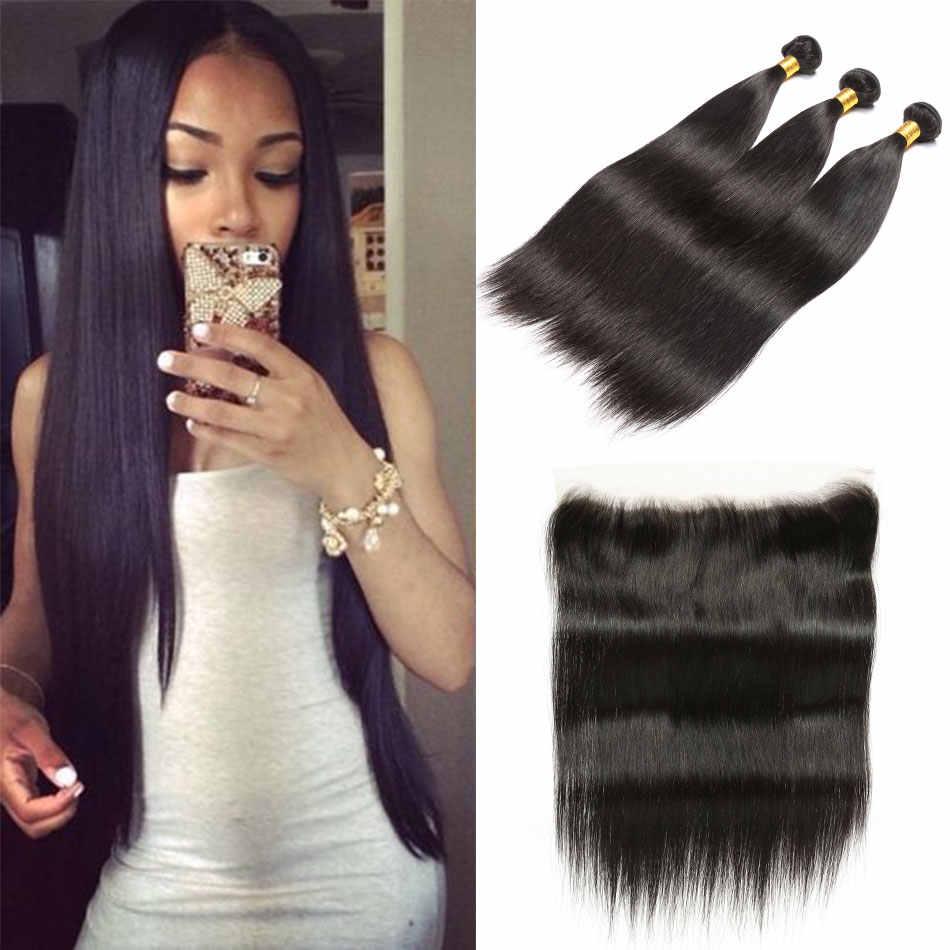 3 пучка прямых волос с фронтальным естественным цветом 100% человеческих волос дешевые шелковистые малазийские волосы прямые с бесплатной частью фронтальной