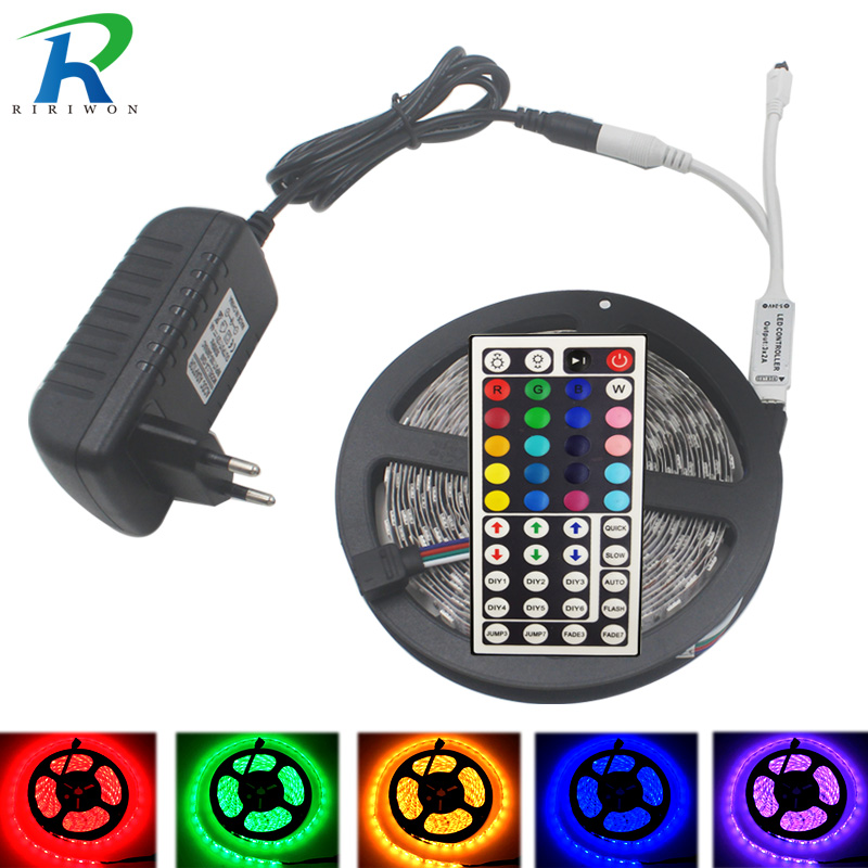 LED Strip 5050 RGB LED light Strip RGB Strip 10M 15M Waterproof IP20 neon Flexible Tape Diode Ribbon DC 12V adapter set string