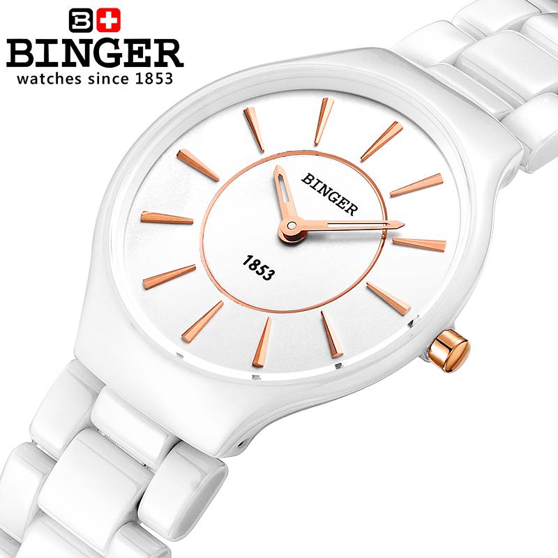 Prix pour Suisse binger céramique quartz femmes montres amoureux de la mode de style de luxe horloge montres 300 m résistance à l'eau b8006-5