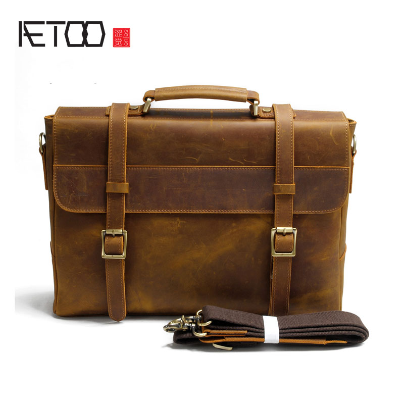 AETOO New head cowhide male bag full leather handbag mad horse leather men's business package briefcase single shoulder package briefcase men s style leather casual male mad horse skin retro brown leather men s business package handbag 2017 the latest