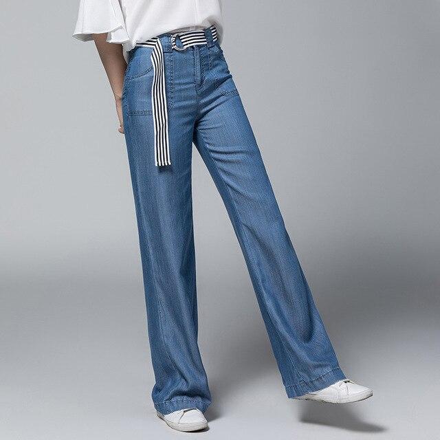 9258f093761 2018 Summer Tencel Wide Leg Pants Women Loose Bell Bottom Trousers Women  Blue High Waist Female Long Thin Palazzo Pants