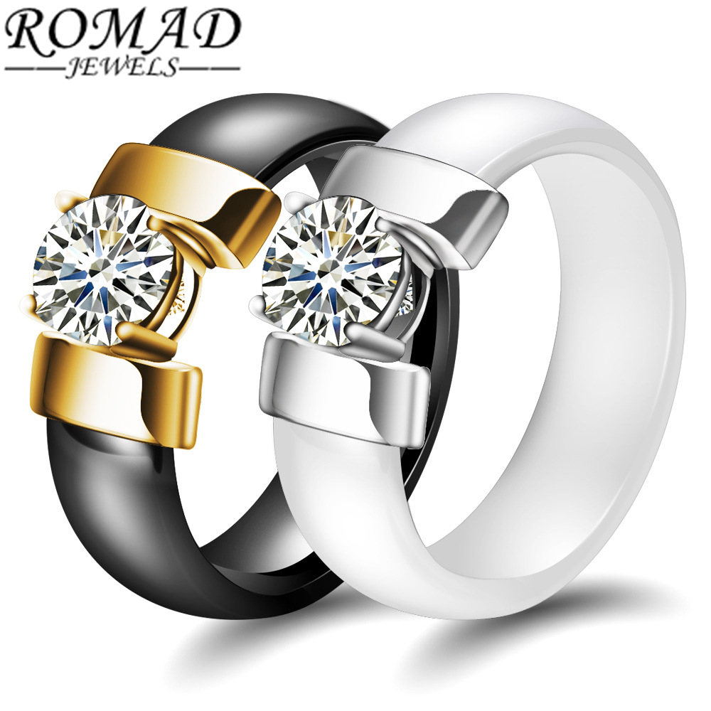 ROAMD 6mm Black White Ceramic Rings Plus Cubic Zirconia for Women Gold Color Stainless S ...