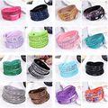 10pcs/Lot Fashion Design Beautiful Resin Rhinestone Leather pu Jewelry Bracelets