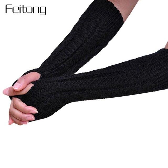 Moda de invierno de lana guantes largos de punto las mujeres guantes ...