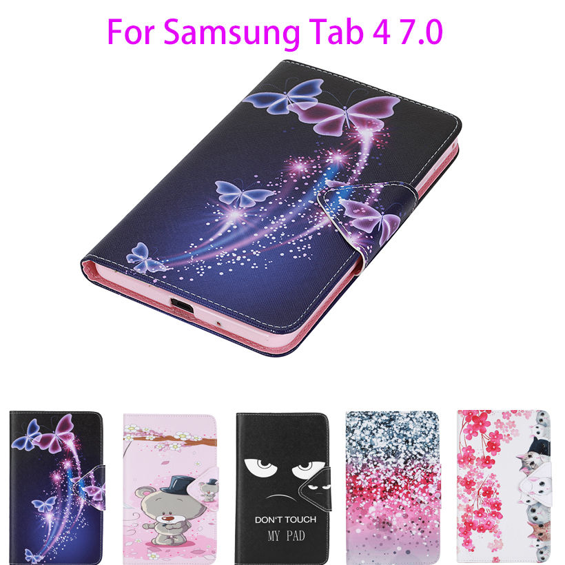Painted Flip Leather Case For Samsung Galaxy Tab 4 7.0 Case T230 T231 T235 SM-T230 Cover tablet Flowers Card Slots wallet Shell cartoon painted flip silicon leather case for samsung galaxy tab 4 7 0 t230 t231 t235 sm t230 case cover tablet funda shell
