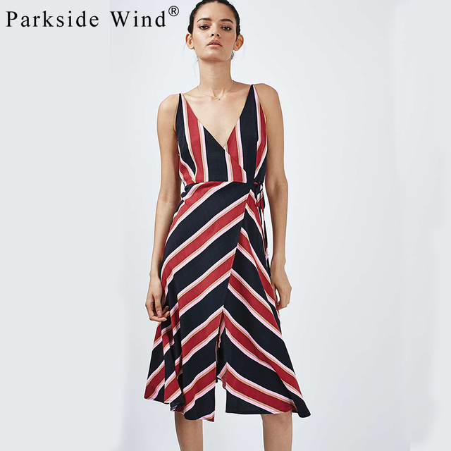 Parkside Wind Casual Striped V-Neck Summer Dress 2017 New Spaghetti Strap Vestidos Sleeveless Women Dresses QWA1435
