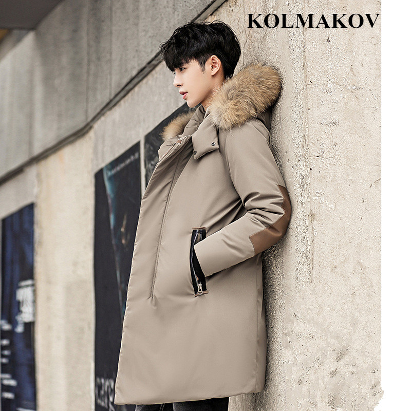 New Men's Winter Thicken   Coats   2018 Mens   Down     Coats   Long Warm Fashion Dresses for Men Good Quality Fur Hooded Jackets Male M-3XL