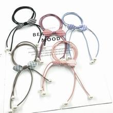 Hair accessories high elastic rubber band head rope pearl ribbon bow plaid fabric hair ring