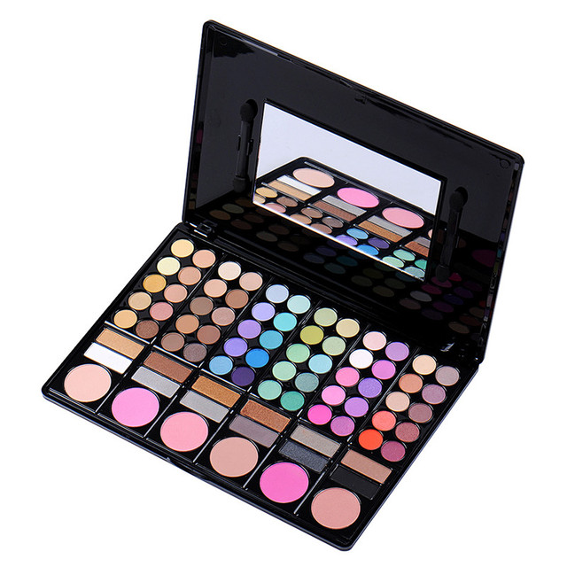 78 Colors Pro Eyeshadow Palette Stage Makeup Powder Moisture Cosmetic Kit With Mirror Brush