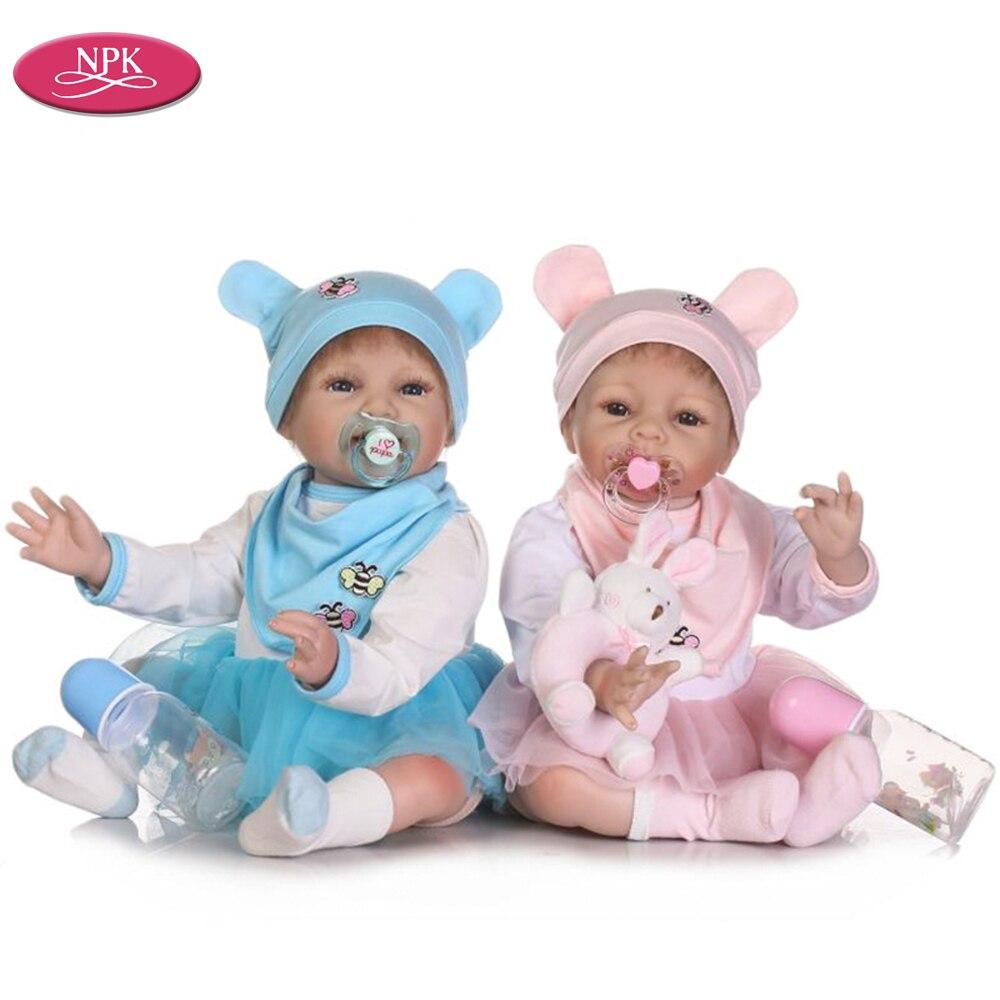 NPK Boneca Reborn Realistas Vivo Real Gêmeos Do Bebê Menina Crianças Brinquedos 55 CENTÍMETROS Macios Bonecas De Silicone Recém-nascidos 22